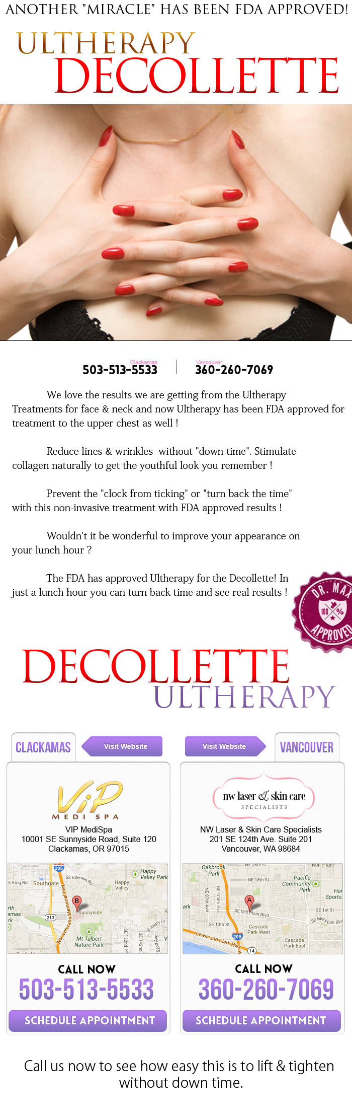 "Ultherapy info for the Decollette - Another ""Miracle"" has been FDA Approved!"